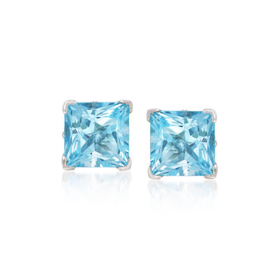 4.10 ct. t.w. Princess-Cut Blue Topaz Stud Earrings in Sterling Silver, , default