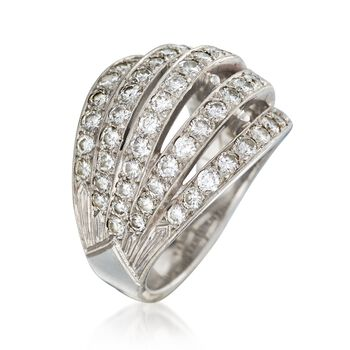 C. 1990 Vintage 3.00 ct. t.w. Diamond Five-Row Ring in 14kt White Gold. Size 7.5, , default