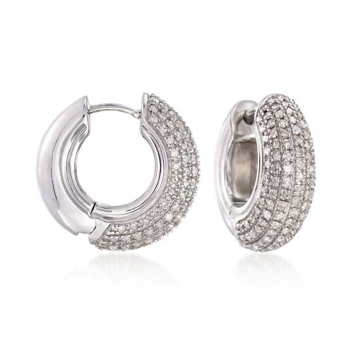 """1.00 ct. t.w. Pave Diamond Huggie Hoop Earrings in Sterling Silver. 5/8"""", , default"""