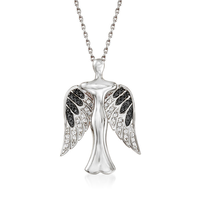 .25 ct. t.w. Black and White CZ Angel Pendant Necklace in Sterling Silver