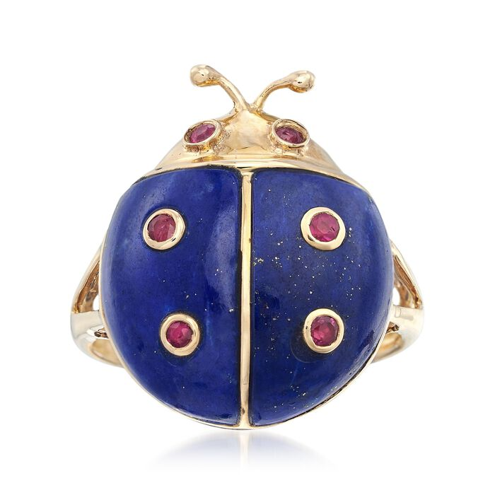 Lapis and .30 ct. t.w. Ruby Ladybug Ring in 14kt Yellow Gold, , default