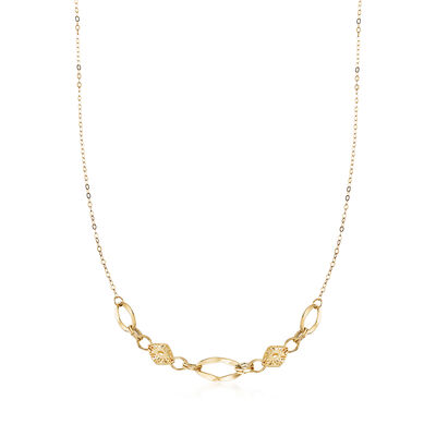 Italian 18kt Yellow Gold Diamond-Cut Multi-Link Necklace, , default