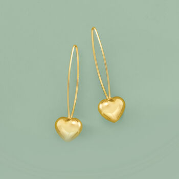 Italian 14kt Yellow Gold Heart Drop Earrings