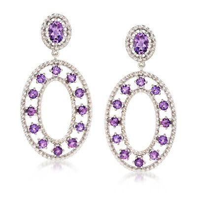 "Andrea Candela ""Cava"" 3.70 ct. t.w. Amethyst Drop Earrings in Sterling Silver, , default"