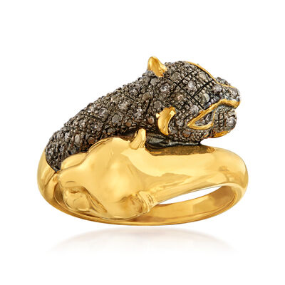 .11 ct. t.w. Brown Diamond Panther Bypass Ring in 14kt Gold Over Sterling