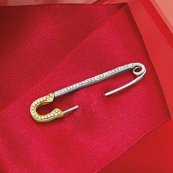 .16 ct. t.w. Diamond Safety Pin in Sterling Silver and 14kt Yellow Gold, , default