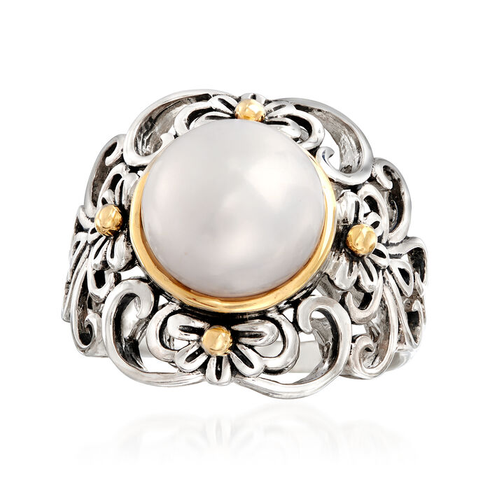 10mm Cultured Pearl Floral Scroll Ring in Sterling Silver and 14kt Yellow Gold