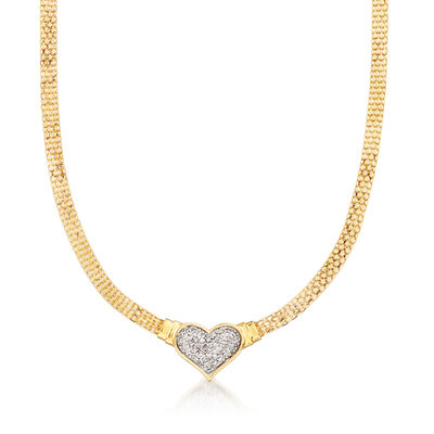 C. 1980 Vintage .50 ct. t.w. Diamond Heart Mesh Necklace in 14kt Yellow Gold