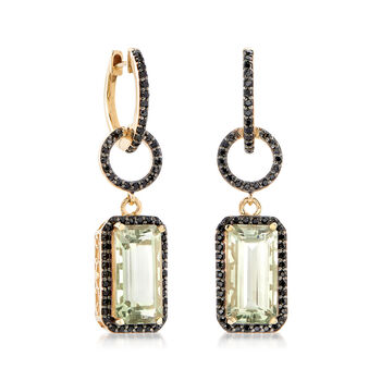 8.00 ct. t.w. Green Prasiolite and 1.00 ct. t.w. Black Spinel Drop Earrings in 18kt Gold Over Sterling , , default