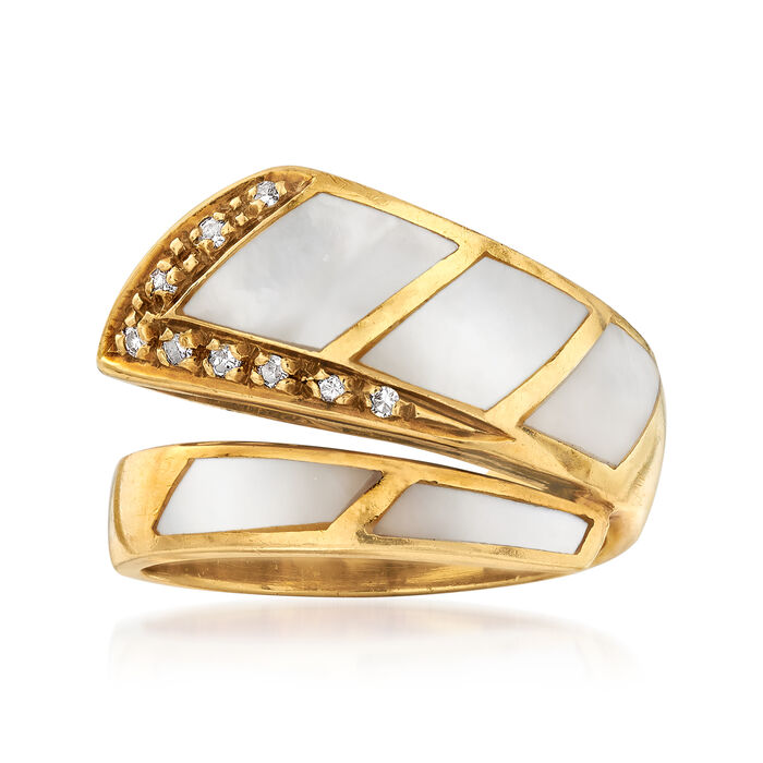 C. 1980 Vintage Mother-Of-Pearl and .12 ct. t.w. Diamond Bypass Ring in 18kt Yellow Gold. Size 6.25, , default