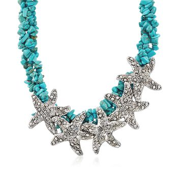 """Sterling Silver Starfish and Simulated Turquoise Bead Necklace. 18"""", , default"""