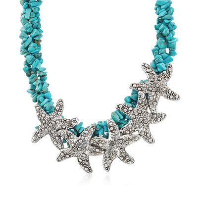 Sterling Silver Starfish and Simulated Turquoise Bead Necklace, , default
