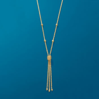 14kt Yellow Gold Rope Chain Tassel Necklace