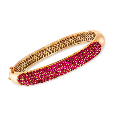 C. 1980 6.70 ct. t.w. Ruby Bangle Bracelet in 18kt Yellow Gold, , default