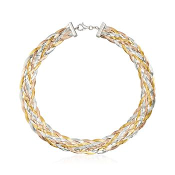 Italian Tri-Colored Sterling Silver Braided Herringbone Collar Necklace, , default