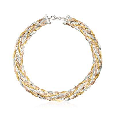 Italian Tri-Colored Sterling Silver Braided Herringbone Collar Necklace, , default