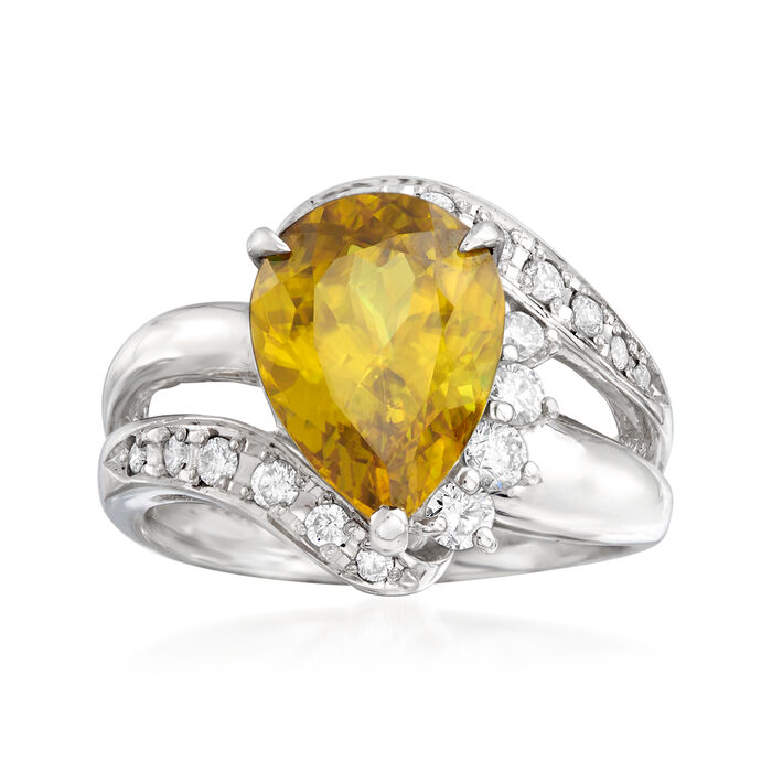 C. 1980 Vintage 4.30 Carat Sphene and .50 ct. t.w. Diamond Ring in Platinum. Size 6