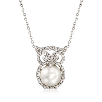 10.5-11mm Cultured Pearl and .60 ct. t.w. CZ Owl Necklace in Sterling Silver