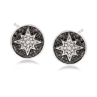 .25 ct. t.w. Black and White Diamond Starburst Earrings in 14kt White Gold, , default