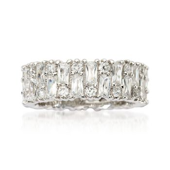 2.85 ct. t.w. Baguette and Round CZ Eternity Band in Sterling Silver, , default