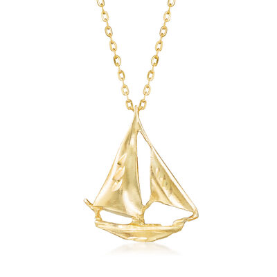 14kt Yellow Gold Sailboat Pendant Necklace, , default