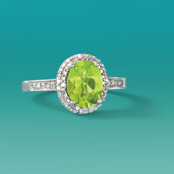1.90 Carat Peridot and Diamond Ring in Sterling Silver