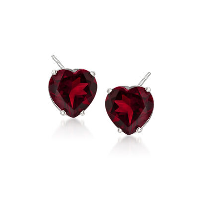 4.00 ct. t.w. Garnet Heart Stud Earrings in 14kt White Gold
