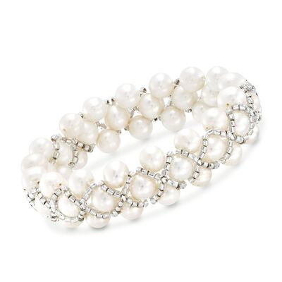 7-7.5mm Cultured Pearl and Gray Glass Bead Stretch Bracelet, , default