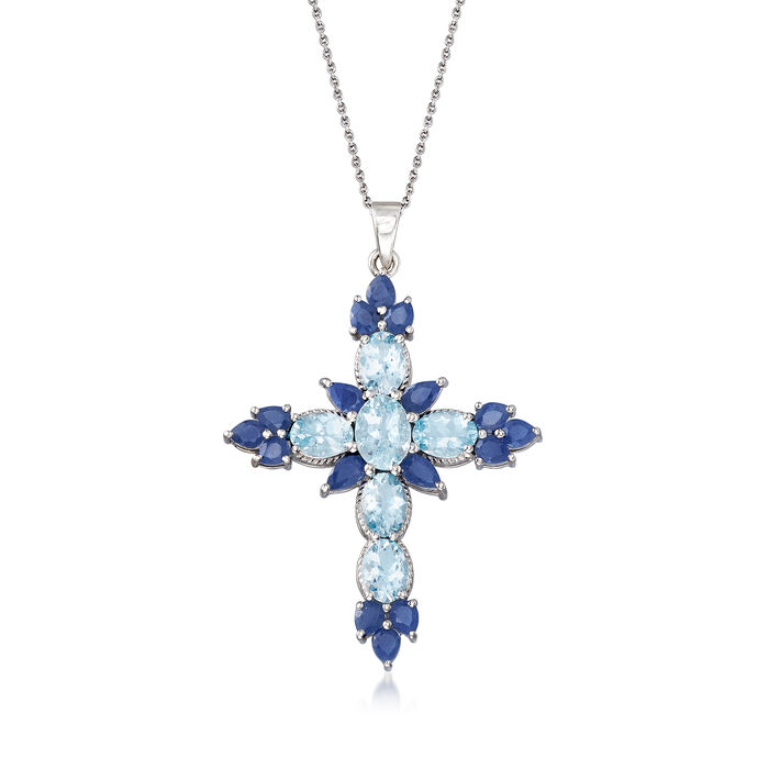 3.80 ct. t.w. Aquamarine and 3.50 ct. t.w. Sapphire Cross Pendant Necklace in Sterling Silver, , default