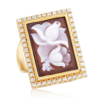Italian Shell Flower Cameo and .70 ct. t.w. CZ Ring in 14kt Yellow Gold Over Sterling Silver, , default