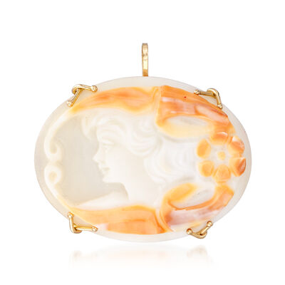 C. 1980 Vintage Shell Cameo Pin Pendant in 14kt Yellow Gold