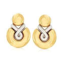 C. 2000 Vintage Chimento Door Knocker Earrings in 18kt Two-Tone Gold, , default