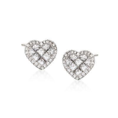 Roberto Coin .95 ct. t.w. Diamond Heart Stud Earrings in 18kt White Gold
