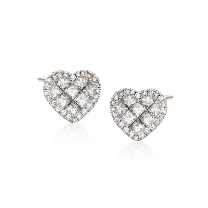 Roberto Coin .95 ct. t.w. Diamond Heart Stud Earrings in 18kt White Gold, , default