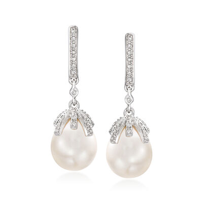 9-9.5mm Cultured Pearl and .12 ct. t.w. Diamond Drop Earrings in Sterling Silver