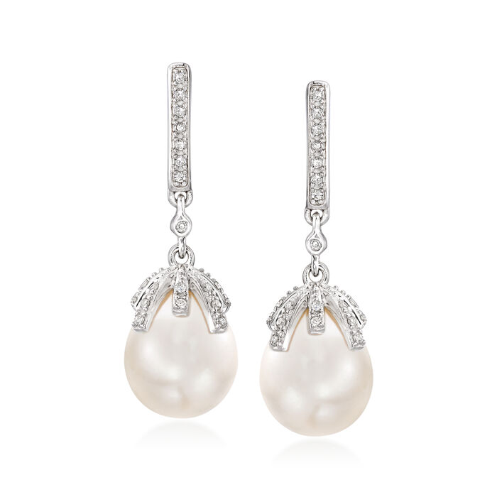 9-9.5mm Cultured Pearl and .12 ct. t.w. Diamond Drop Earrings in Sterling Silver, , default