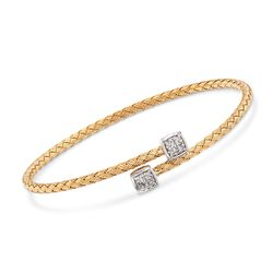 "Charles Garnier ""Nana"" .15 ct. t.w. CZ Bypass Bracelet in Two-Tone Sterling Silver. 7"", , default"