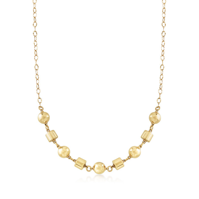 """Italian 14kt Yellow Gold Cylinder and Bead Chain Necklace. 18"""", , default"""