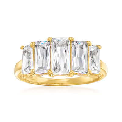 2.60 ct. t.w. CZ Five-Stone Ring in 18kt Gold Over Sterling