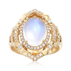 Moonstone and .43 ct. t.w. Diamond Ring in 14kt Yellow Gold, , default