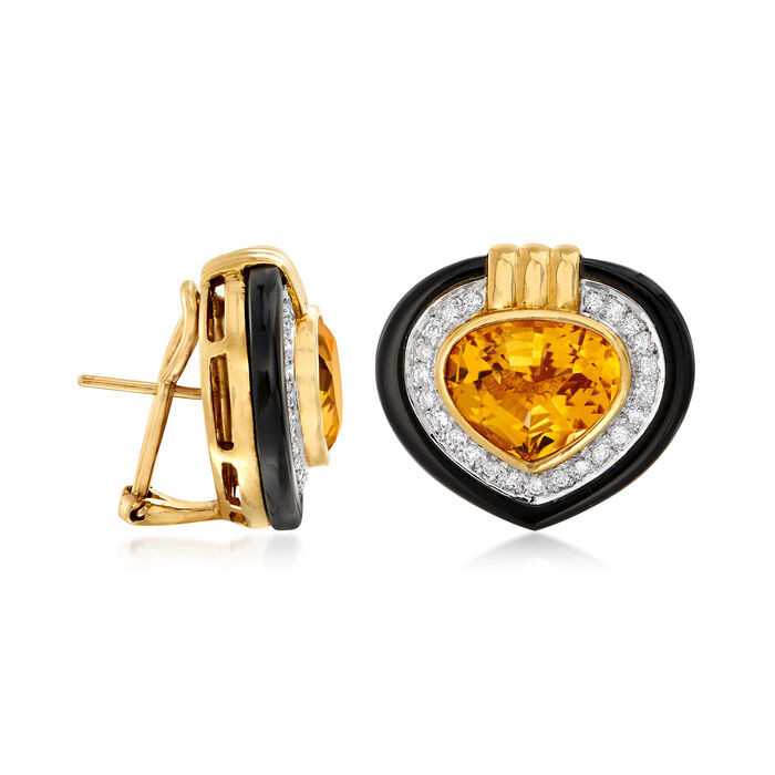 C. 1980 Vintage 8.50 ct. t.w. Citrine, .65 ct. t.w. Diamond and Black Onyx Heart Earrings in 18kt Yellow Gold