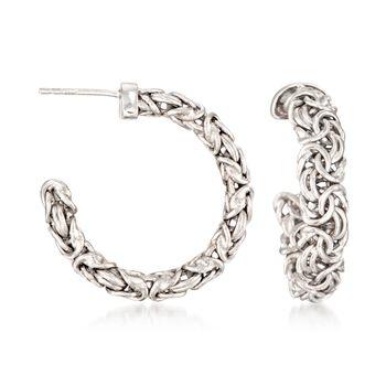 """Sterling Silver Byzantine Hoop Earrings. 1 1/8"""", , default"""