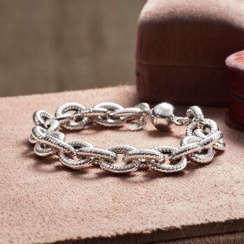 Italian Sterling Silver Cabled Oval-Link Bracelet, , default