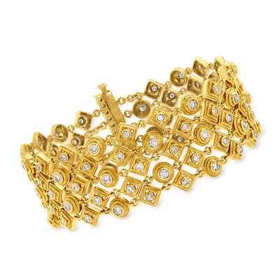 4.63 ct. t.w. 5-Row Diamond Bracelet in 18kt Yellow Gold