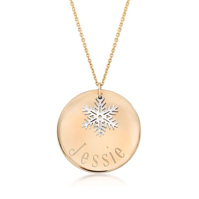 14kt Yellow Gold Personalized Disc Pendant Necklace with Sterling Silver Snowflake, , default