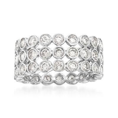 3.00 ct. t.w. Bezel-Set Diamond Three-Row Eternity Band in 14kt White Gold, , default