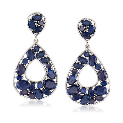 16.85 ct. t.w. Sapphire Earrings in Sterling Silver, , default
