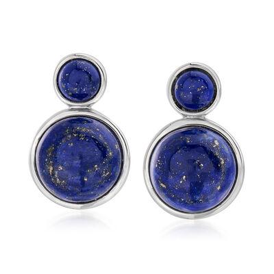 Lapis Drop Earrings in Sterling Silver