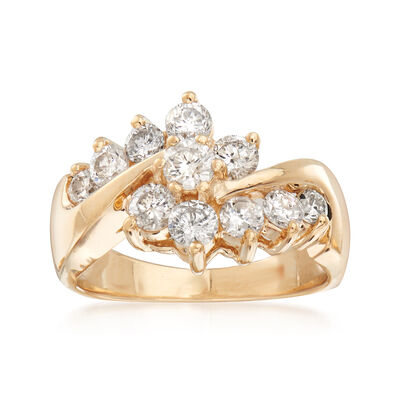 C. 1990 Vintage 1.05 ct. t.w. Diamond Bypass Ring in 14kt Yellow Gold, , default