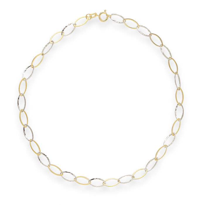 14kt Two-Tone Gold Oval-Link Anklet